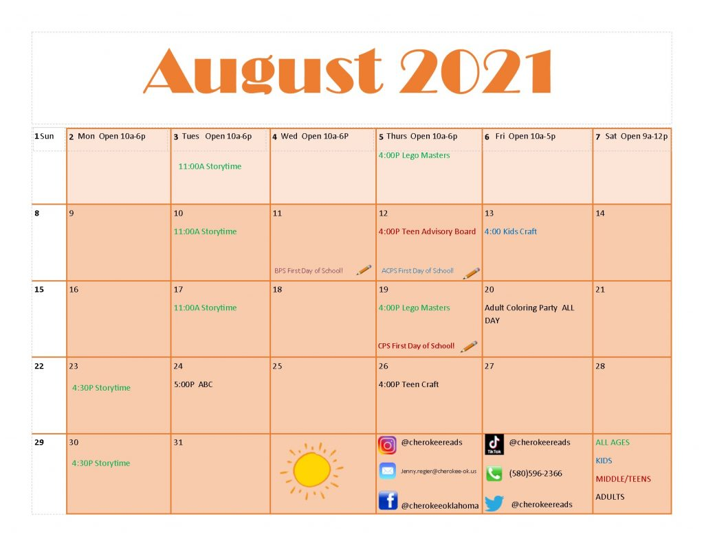 Calendar for August 2021